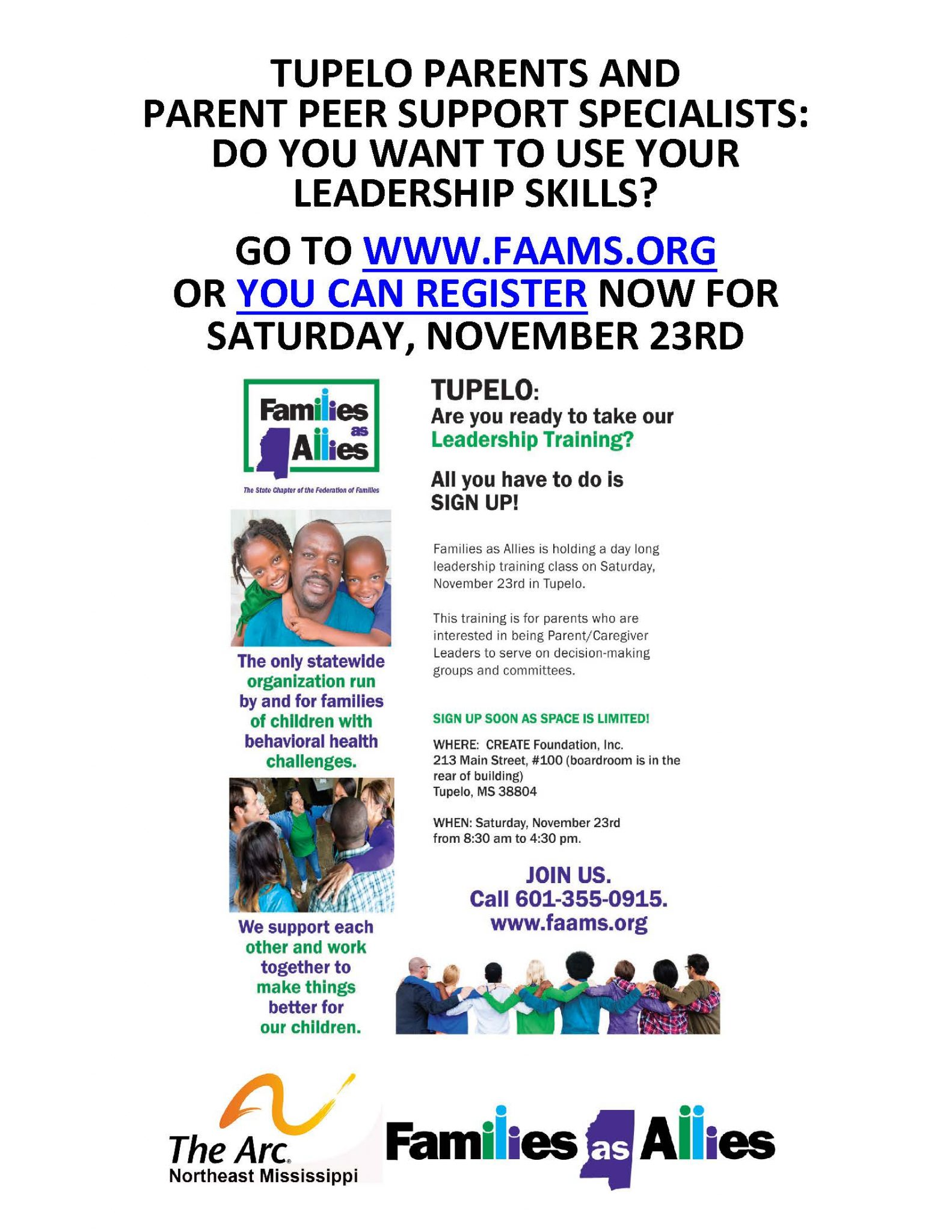 Tupelo Parents and Parent Peer Support Specialists: Do You Want to Use Your Leadership Skills?