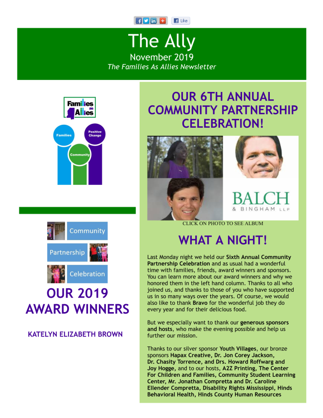 The Ally - Mississippi Families as Allies Newsletter November 2019