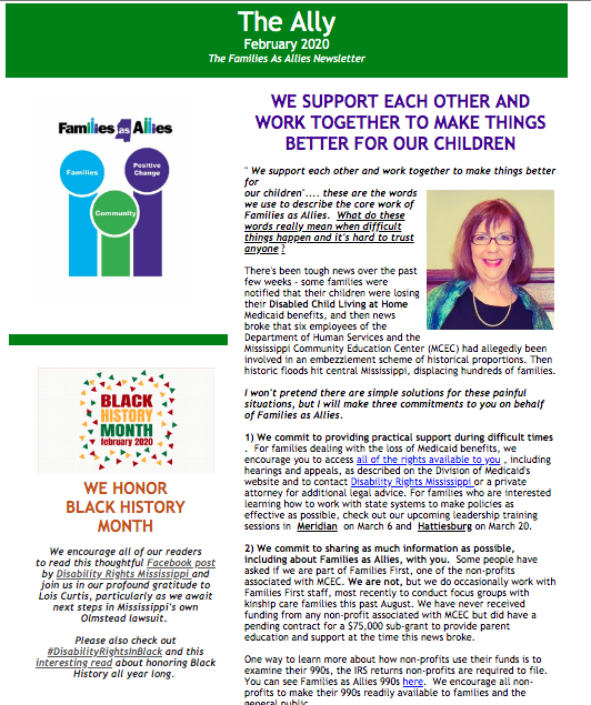 The Ally February 2020 - Newsletter - Families as Allies