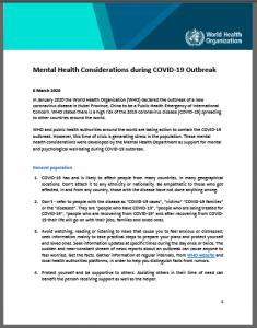 World Health Organization - Mental Health Considerations COVID-19