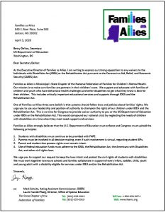 Letter to Betsy DeVos - Families as Allies