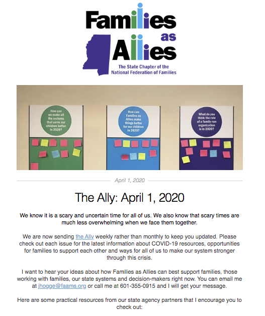 The Ally Newsletter - 04/01/20 - Families as Allies