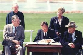 George H.W. Bush signing ADA - Families as Allies