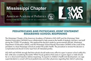Mississippi Pediatricians and Physicians Make Joint Statement on School Reopening