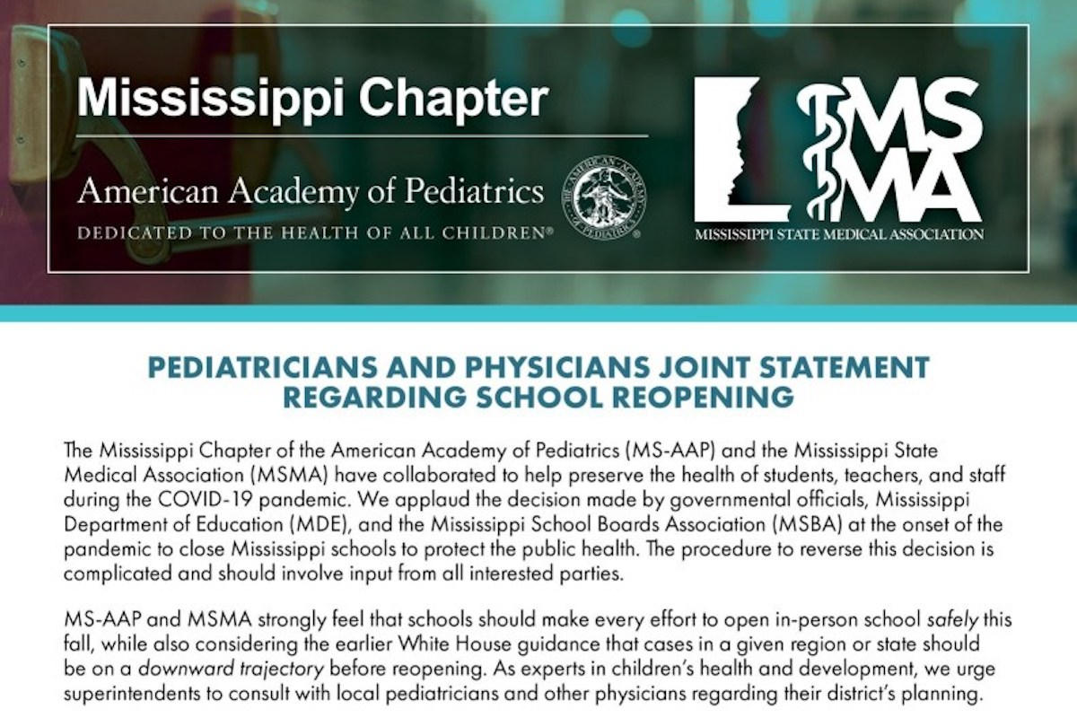 Read more about the article Mississippi Pediatricians and Physicians Make Joint Statement on School Reopening