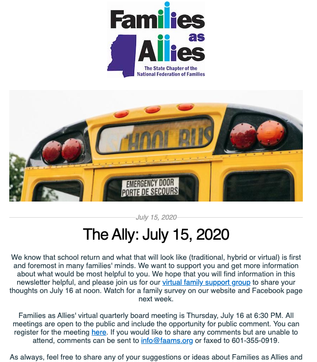 The Ally - July 15 2020 - Families as Allies