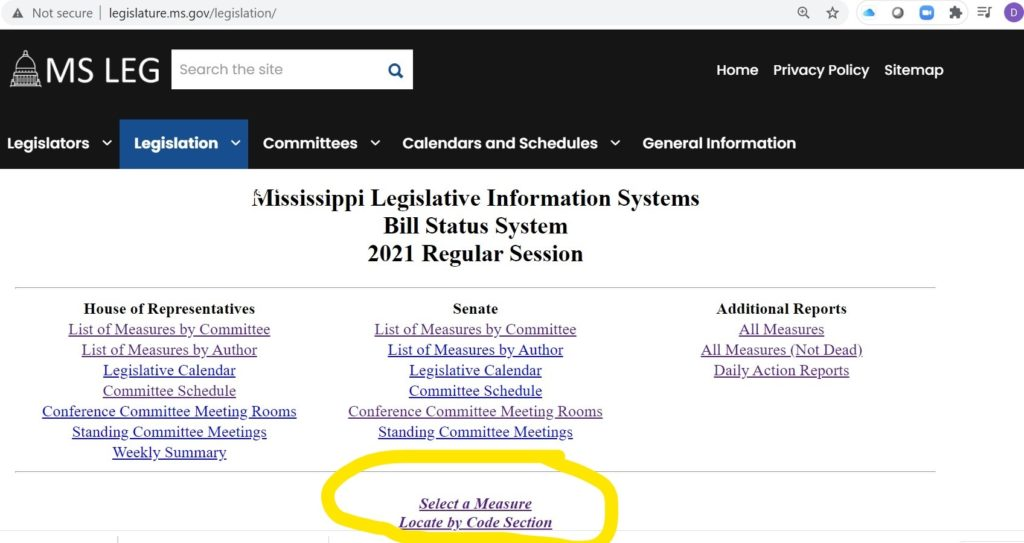 Mississippi Bill Finder Step One - Families as Allies