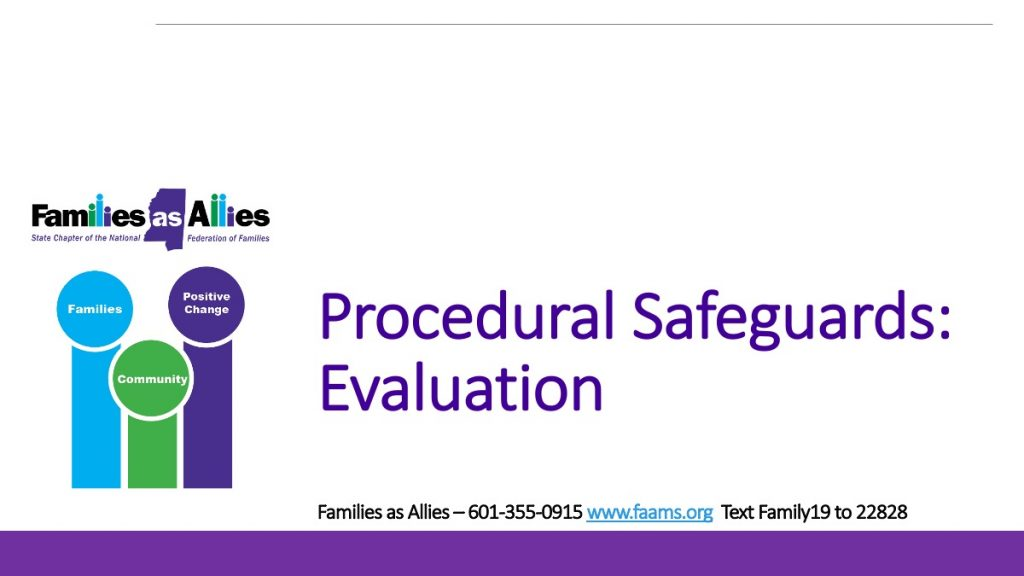 Procedural Safeguards - Evaluation