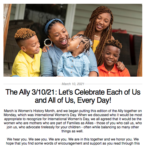 Screen shot from the Ally newsletter for March 10, 2021
