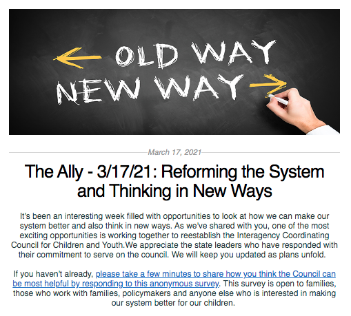 Screen shot from the Ally newsletter for March 17, 2021