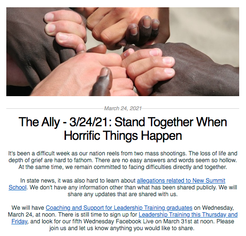 Screen shot from The Ally newsletter for March 24, 2021