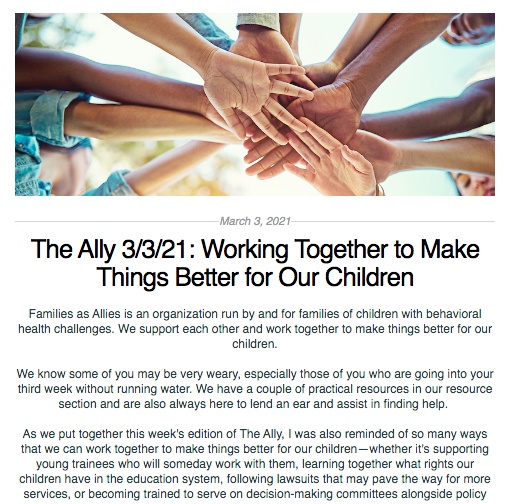 Screen shot from the Ally newsletter for March 3, 2021