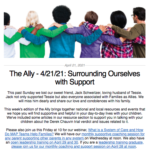 Screen shot from the Ally newsletter for April 21, 2021