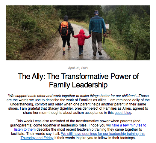 Screen shot from the Ally newsletter for April 28, 2021