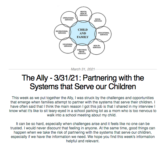 Screen shot from the Ally newsletter for March 31