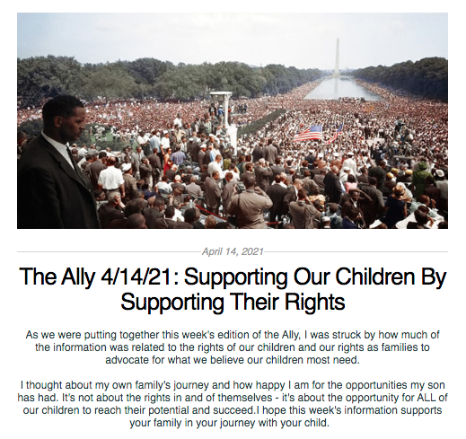 Screen shot from the Ally newsletter for April 14, 2021