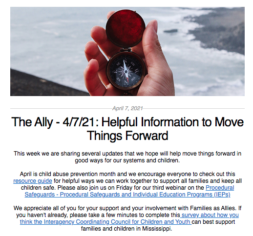Screen shot from the Ally newsletter for April 7 2021