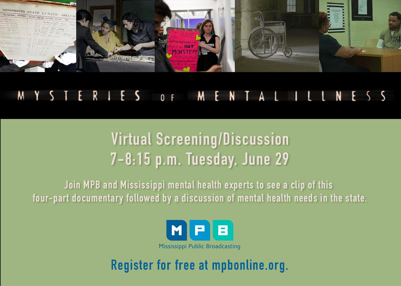 MPB's Mysteries of Mental Illness event flyer