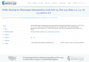 Mississippi Division of Medicaid Public Hearing