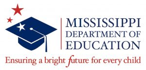 M Department of Education red and blue logo with blue graduation hat graphic