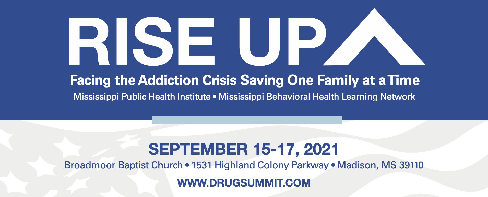 Blue and white Rise Up Drug Summit logo