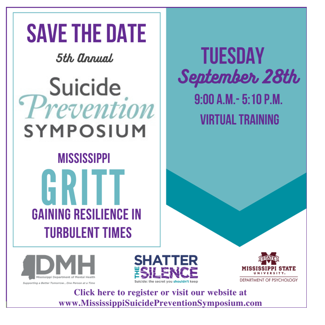 A purple and blue graphic flyer writes out the details of the event