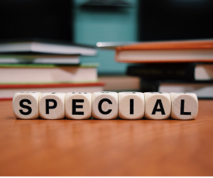 White and black blocks spell the word special