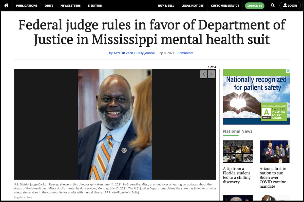 Read more about the article News Coverage on Judge Reeves' Decision in Mental Health Lawsuit