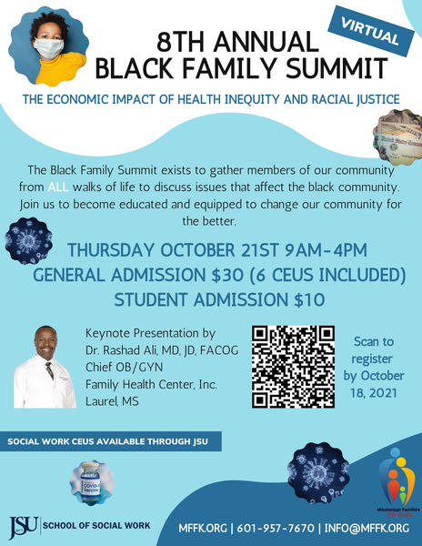 A blue and white flyer for the Mississippi Families for Kids