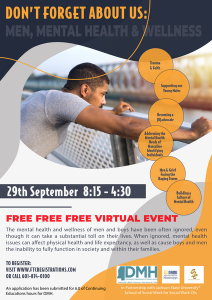 Flyer for the Don't Forget About Us: Men, Mental Health and Wellness Seminar