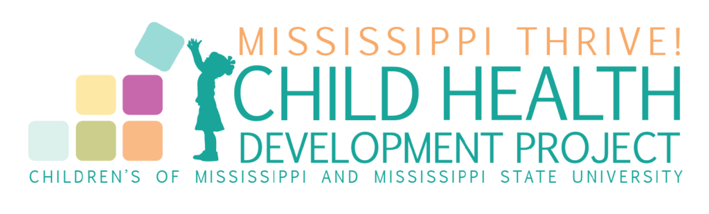 A logo and graphic of a child building blocks